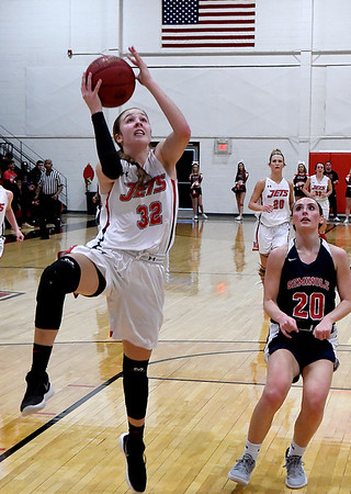 NOC Enid's Sarah Griswold scores a fastbreak basket against Seminole State Monday February 11, 2019 at the NOC Mabee Center. (Billy Hefton / Enid News & Eagle)