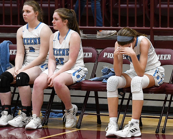 Okeene's Rachyl Wilson hangs her head after fouling out of the Whippets loss to Lookeba-Sickles in an elimination game in a class B regional tournament Friday Feb. 15, 2019 at Pioneer High School. (Billy Hefton / Enid News & Eagle)