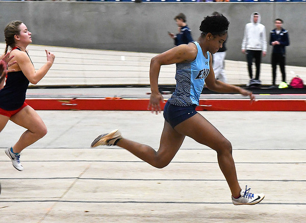 Enid's D'Sani Levy runs the 55-meter dash Friday February 1, 2019 at the Chisholm Trail Expo Center. (Billy Hefton / Enid News & Eagle)
