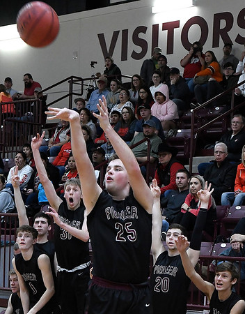 Pioneer's Payton Wingo shoots a three point shot against Pawnee during an elimination game in a class 2A regional tournament Saturday Feb. 23, 2019 at Pioneer High School. (Billy Hefton / Enid News & Eagle)