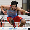 Chisholm's Garrett Eagen runs the 55-meter hurdles at the Chisholm Trail Expo Center Saturday February 2, 2018. (Billy Hefton / Enid News & Eagle)