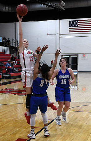 NOC Enid's Kaylee Hurst shoots over Murray State's Toni Greene Tuesday Feb. 21, 2019 at the NOC Mabee Center. (Billy Hefton / Enid News & Eagle)