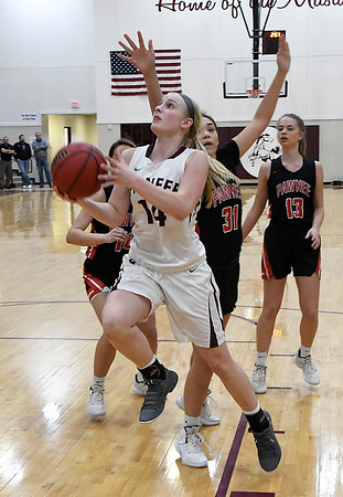 Pawnee's Kennedy Cassody gets behind the Pawnee defense during an elimination game in the class 2A regional tournament Friday Feb. 22, 2019 at Pioneer High School. (Billy Hefton / Enid News & Eagle)
