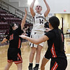 Pawnee's Kennedy Cassody shoots against Pawnee during an elimination game in the class 2A regional tournament Friday Feb. 22, 2019 at Pioneer High School. (Billy Hefton / Enid News & Eagle)