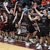 Players on the Pioneer bench react to a made three point basket by Payton Wingo against Pawnee during an elimination game in a class 2A regional tournament Saturday Feb. 23, 2019 at Pioneer High School. (Billy Hefton / Enid News & Eagle)