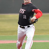 NOC Enid's Braxton Douthit delivers the first pitch of the season against Northeast Nebraska Saturday February 2, 2019 at David Allen Memorial Ballpark. (Billy Hefton / Enid News & Eagle)