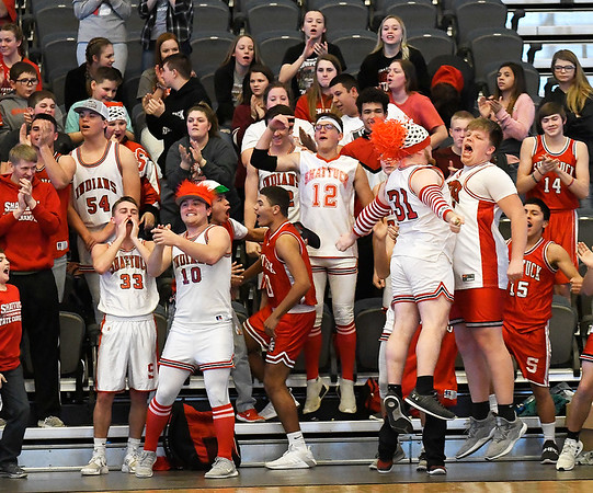 Shattuck students celebrate during the Lady Indians' 54-48 win over Waukomis in an elimination game in the class A area tournament Thursday Feb. 21, 2019 at the Central National Bank Center. (Billy Hefton / Enid News & Eagle)