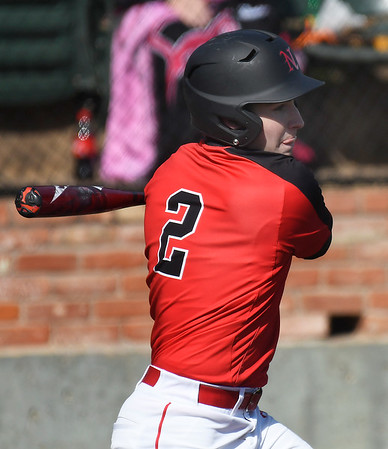 NOC Enid's Connor Thaxton hits a RBI Single against Iowa Central Friday, February 21, 2020 at David Allen Memorial Ballpark. (Billy Hefton / Enid News & Eagle)