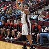 Garber's Taye Sullivan shoot a three point shot against OBA during the district championship game Saturday, February 15, 2020 at Garber High School. (Billy Hefton / Enid News & Eagle)