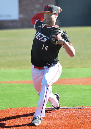NOC Enid's Evan Kowalski delivers the first pitch of the 2020 baseball season against NE Nebraska Saturday, February 1, 2020 at David Allen Memorial Ballpark. (Billy Hefton / Enid News & Eagle)