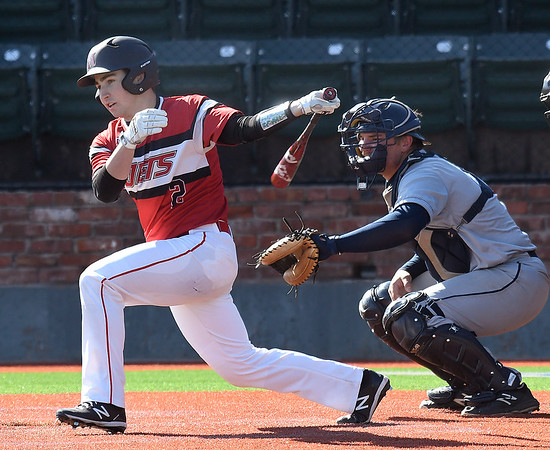NOC Enid Connor Thaxton connects against Rose State Tuesday, February 18, 2020 at David Allen Memorial Ballpark. (Billy Hefton / Enid News & Eagle)