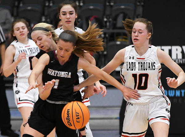 OBA's Clara Caldwell takes the ball from Watonga's Abby Boeckman and Landri Hussey during the Downtown Basketball Festival Saturday, February 1, 2020 at the Stride Bank Center. (Billy Hefton / Enid News & Eagle)