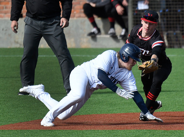 NOC Enid's Ambren Voitik tags out Iowa Central's Jack Sievers at second base Saturday, February 22, 2020 at David Allen Memorial Ballpark. (Billy Hefton / Enid News & Eagle)