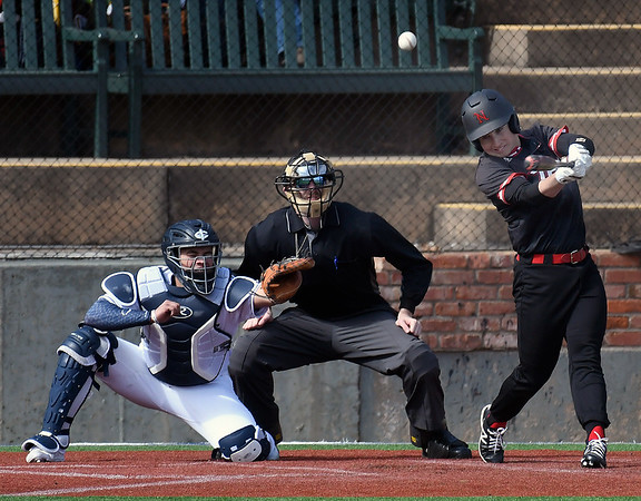 NOC Enid's Connor Thaxton hits the ball to righfield against Iowa Central Saturday, February 22, 2020 at David Allen Memorial Ballpark. (Billy Hefton / Enid News & Eagle)