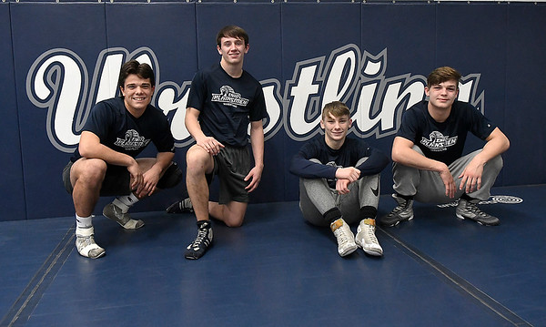 Enid High wrestlers, (left to right) Carlos Alvarado, Daigen Gibbens, Trent Zweifel and Chance Davis, will be competing in the state tournament this weekend at the Oklahoma City Fairgrounds. (Billy Hefton / Enid News & Eagle)