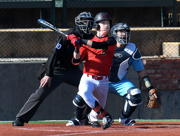 NOC Enid's Ambren Voitik connects on a triple against Iowa Central Friday, February 21, 2020 at David Allen Memorial Ballpark. (Billy Hefton / Enid News & Eagle)