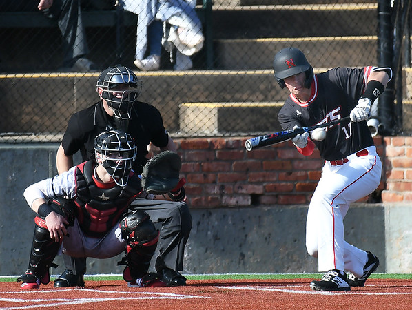 NOC Enid's Matthew Henderson lays down a bunt for a base hit against NE Nebraska Saturday, February 1, 2020 at David Allen Memorial Ballpark. (Billy Hefton / Enid News & Eagle)