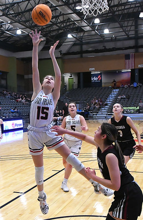 OBA's Leah Titus shoots over Watonga's Jaryn Lehman during the Downtown Basketball Festival Saturday, February 1, 2020 at the Stride Bank Center. (Billy Hefton / Enid News & Eagle)