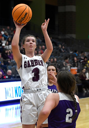 Garber's Katyryn Plunkett shoots over Hydro-Eakly's Lotti Parker during the championship game of the Area 1 tournament Friday, February 28, 2020 at the Stride Bank Center. (Billy Hefton / Enid News & Eagle)