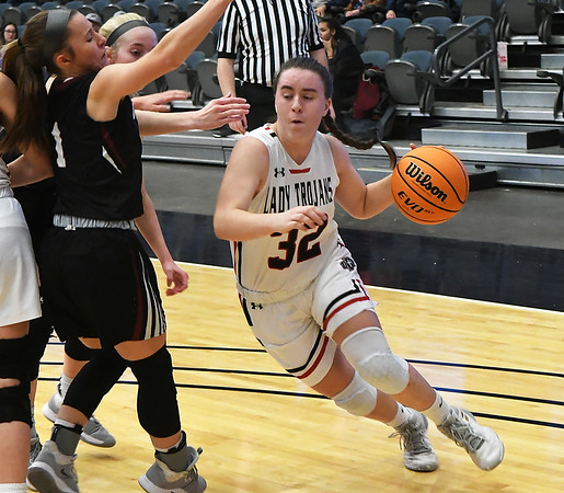 OBA's Cooper Cayot gets around Watonga's Abby Boeckman during the Downtown Basketball Festival Saturday, February 1, 2020 at the Stride Bank Center. (Billy Hefton / Enid News & Eagle)