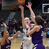 Garber's Alyssa Johnson shoots over Hydro-Eakly's Rachel Barry and Raegan Klaassen during the championship game of the Area 1 tournament Friday, February 28, 2020 at the Stride Bank Center. (Billy Hefton / Enid News & Eagle)