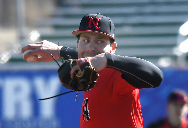 NOC Enid's Evan Kowalski delivers a pitch against Iowa Central Friday, February 21, 2020 at David Allen Memorial Ballpark. (Billy Hefton / Enid News & Eagle)