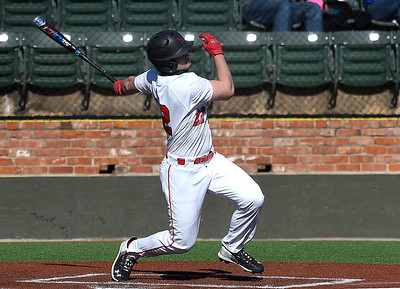 NOC Enid's Cale Savage connects on a home run against Hutchinson CC at David Allen Memorial Ballpark Tuesday, February 2, 2021. (Billy Hefton / Enid News & Eagle)