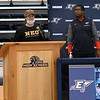 Maddux Mayberry addresses those attending Enid High School's signing day with coach Rashaun Woods looking on Wednesday, February 3, 2021 at the Enid High School gym. (Billy Hefton / Enid News & Eagle)