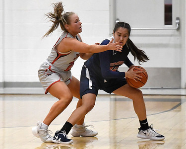 NOC Enid's Hollie Wood pressures Seminole's Jayla McIntosh Thursday, February 4, 2021 at the NOC Mabee Center. (Billy Hefton / Enid News & Eagle)