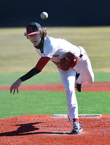 NOC Enid's Thomas Kuykendall delivers the first pitch of the 2021 baseball season Tuesday, February 2, 2021 against Hutchinson CC at David Allen Memorial Ballpark. (Billy Hefton / Enid News & Eagle)