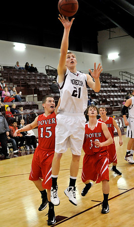Pioneer's Blake Gabriel puts up a shot against Dover during a game earlier this week. (Staff Photo by BILLY HEFTON)