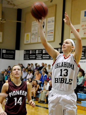 OBA's Brooke Wayman puts up a shot against Pioneer Tuesday at the OBA gym. (Staff Photo by BILLY HEFTON)