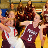 Two Perry Lady Maroons foul Chisholm's Faith Mirelez sending Mirelez to the line during the Wheat Capital Basketball Tournament at Chisholm High School Thursday, Jan. 10, 2013.. (Staff Photo by BONNIE VCULEK)