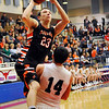 Fairview's Bryce Kippenberger goes up for a shot against Blackwell's Trey Hubbard Friday during the semi-finals of the 44th Annual Wheat Capital Basketball Tournament at Chisholm High School. (Staff Photo by BILLY HEFTON)
