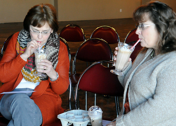 Karen Armbruster (left) and Jean Bailey (right) gladly devour a PCIC Shake prepared by Camden and Caton Cope from the Watonga 4-H during 4-H Day at Oakwood Mall Saturday, Jan. 04, 2014.