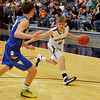 Pioneer's Kade Cronkhite looks for an opening against Drummond's Logan Jantz Saturday at the Enid Event Center during the finals of the 90th Skeltur Conference Tournament. (Staff Photo by BILLY HEFTON)
