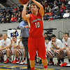 Cherokee's Austin Guffy shoots a 3 point shot against Kremlin-Hillsdale Firday at the Chisholn Trail Expo Center during a semi-final game of the Cherokee Strip Conference Tournament. (Staff Photo by BILLY HEFTON