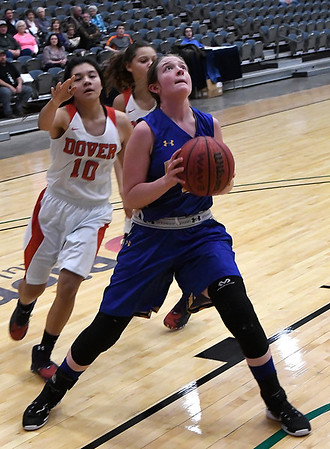 Drummond's Maci Morrison puts up a shot against Dover during the 93rd Skeltur Conference Basketball Tournament Wednesday 18, 2018 at the Central National Bank Center. (Billy Hefton / Enid News & Eagle)