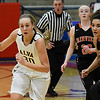 Alva's Whitney Randall dribble away from pressure by Fairview's Tanara Combs and Bristin Grove during the semi-finals of the Wheat Capital Basketball Tournament Friday January 6, 2017 at Chisholm High School. (Billy Hefton / Enid News & Eagle)