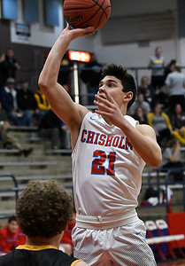 Chisholm's Scott Grebe puts up a shot against Alva during the Wheat Capital Basketball Tournament Thursday January 5, 2017 at Chisholm High School. (Billy Hefton / Enid News & Eagle)