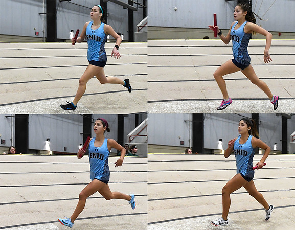 Enid's Kinley Davis (top left), Alexzandria Hernandez (top right), Genesis Carrillo (bottom left) and Maria Hernandez (bottom right) run the 4 x 800 relay Friday January 26, 2018 at the Chisholm Trail Expo Center. (Enid News & Eagle)