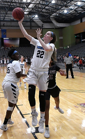 Enid's Cayti Moeller puts up a shot against Putnam City North Tuesday January 30, 2018 at the Central National Bank Center. (Billy Hefton / Enid News & Eagle)