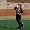 NOC's Kelsey Gammage makes a throw home during practice Wednesday January 31, 2018 at Failing Field. (Billy Hefton / Enid News & Eagle)
