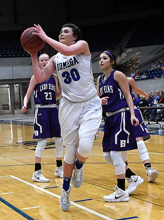 Lomega's Alyssa Smalley shoots against Burlington during the championship game of the Cherokee Strip Basketball Tournament Saturday January 20, 2018 at the Chisholm Trail Expo Center. (Billy Hefton / Enid News & Eagle)
