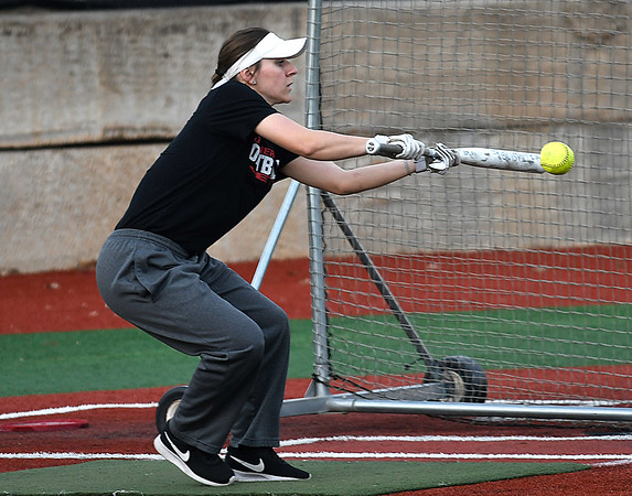 NOC's Summer Boyton lays down a bunt during practice Wednesday January 31, 2018 at Failing Field. (Billy Hefton / Enid News & Eagle)