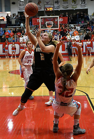 Woodward's Gracen Williamson puts up a shot against Chisholm's Tatum Sefcik during the semi finals of the 49th Wheat Capital Basketball Tournament Friday January 5, 2018 at Chisholm High School. (Billy Hefton / Enid News & Eagle)