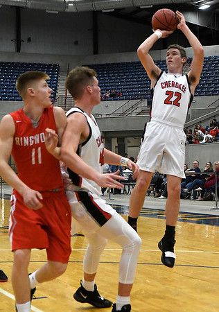 Cherokee's Kade Chace puts up a shot against Ringwood during the championship game of the Cherokee Strip Conference Tournament Saturday january 26, 2019. (Billy Hefton / Enid News & Eagle)