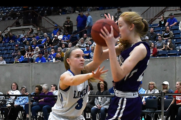 Lomega's Courtney Fox pressures Burlington's Kayla Highfill during the championship game of the Cherokee Strip Conference Tournament Saturday january 26, 2019. (Billy Hefton / Enid News & Eagle)
