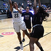 Enid's Mya Edwards shoots over Putnam City North's LaShay Patterson Tuesday january 29, 2019 at the Central national Bank Center. (Billy Hefton / Enid News & Eagle)