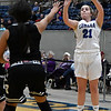 Lomega's Megan Dunigan shoots over Timberlake's Raegan Scobey during a semi-final game of the Cherokee Strip Conference Tournament Friday January 25, 2019 at the Chisholm Trail Expo Center. (Billy Hefton / Enid News & Eagle)
